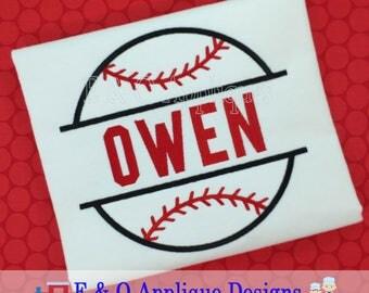 Split Baseball Applique Design - Baseball Applique Design - Baseball Embroidery Design - Softball Applique Design - Digital Design