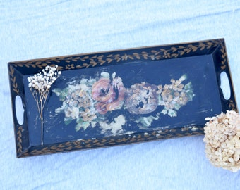 Tole Tray, Black Floral, Large Tray, Black and Gold, Floral Tray, Tole Painting, Rectangle Tray, Floral Decor, Black Decor, Black Tole Tray