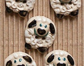 5 Round Sheep Buttons, Handmade, Fully Washable, Incomparable Buttons, ButtonMad L432