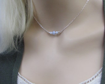 Blue Lace Choker Necklace, Layering Necklace, Sterling Silver, Blue Lace Agate Gemstone, Minimalist Jewelry, Petite Blue Lace Necklace