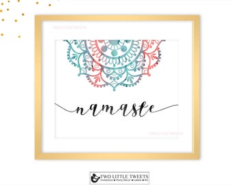 Wall art printable - NAMASTE wall art printable- yoga wall art - Indian wall art - welcome wall art - meditation wall art - zen wall art