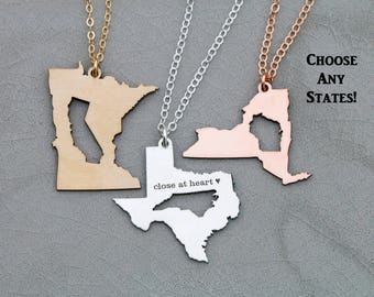 SALE • Best Friend Gift Graduation Necklace Sister Going Away Gift Moving •Long Distance Relationship Gift Girlfriend Jewelry State Necklace