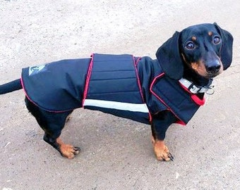 Dog Winter Coat with underbelly protection - Dachshund Coat - Custom made dog clothes - Waterproof / Fleece Dog Jacket - MADE TO ORDER