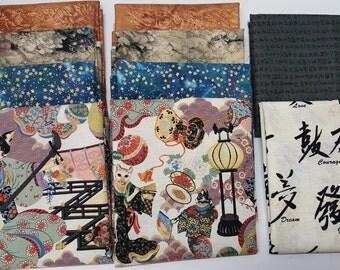 Timeless Treasures fabric-Oriental Quilting fabric bundle-quilt supply-Oriental symbols quilting fabric-Bundle of 11 fat quarter fabric