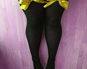Ava Pin-Up Yellow Bows Black Thigh High Stockings Lingerie - Plus Size Available