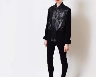 Black Leather and Ribbed Knit Bomber Jacket Vintage Merino Wool Real Leather Jacket Minimal S