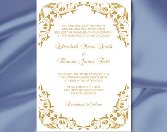 Gold Wedding Invitation Template, Elegant Foliage Bridal Shower Party  Invites, Leaves, Printable Cards