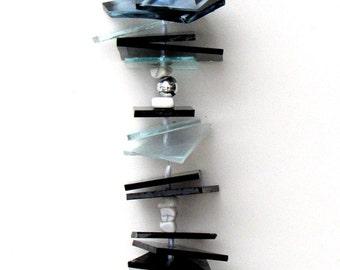 Stained Glass Suncatcher,  - Black - White - Silver - Glass Windchime - Art Deco, DBW1002