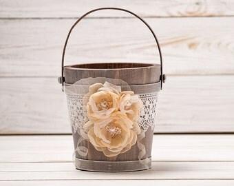 Flower Girl Basket Peach Wedding Basket Bridal Basket Champagne Wedding Rustic Wedding Bucket Lace and Roses Flower Girl Basket