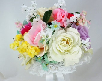 Spring Flower Bouquet, Silk Flowers, Various Types of Flowers, White Lace Collar, White Satin Ribbon, Organza Ribbon