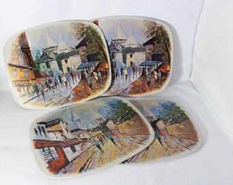 Tin and Cork Trivets Litho Art Piece Set of 4