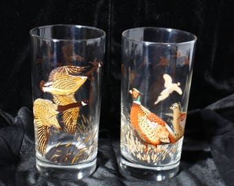 Hunting Glass Cups Wild Ducks and Pheasants Hunter's Gift, Father's Day Gift Set of 2