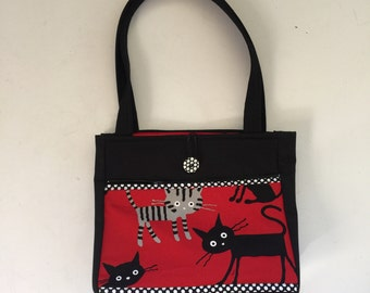 Red Cats Handmade Tote Bag