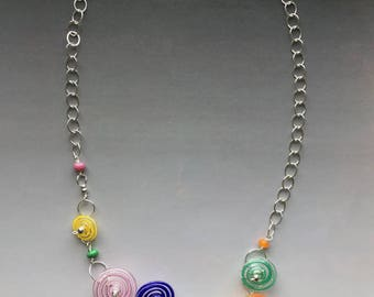 peppermint necklace in bright colors clustered handmade glass lampwork beads with sterling silver
