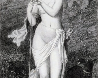 19th century engraving; Diana, Roman Goddess of the hunt and nature
