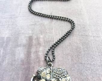 Gunmetal Elephant Necklace / Rhinestone Elephant Necklace / Elephant Jewelry / Gunmetal Ball Chain Necklace