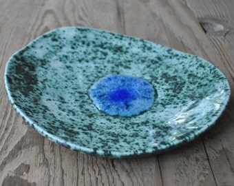 Asymmetric Speckled Turquoise Blue Pottery Dish, Handmade Ceramic Bowl, Home Decor with a melted Glass Decor