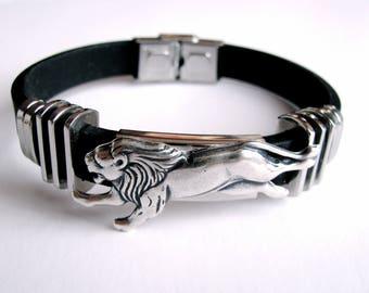 Lion Black Men's Bracelet, Stainless Steel and Black Rubber Lion Bracelet, Black Men's Bracelet, Wedding, Birthday, Gift for Him