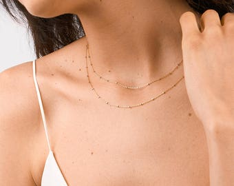Simple Gold Necklace, Layered Chain Choker Necklace, Unique Gold Choker, Bridesmaid Necklace, Wedding Necklace, Plain Necklace Chain [Star]
