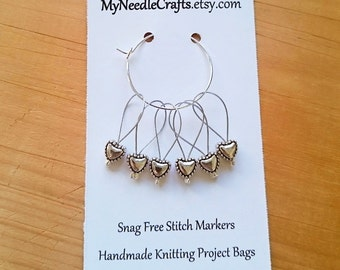 Knitting Stitch Markers, Snag Free, Snagless Beaded Knitting Stitch Markers, Set of 6 silver plated Heart stitch markers