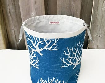 Knitting Project Bag in denim blue coral print, Two at a Time Knitting Bag, Yarn Organizer, Drawstring Bag - Medium Socksack