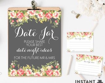 "Date Jar Bridal Game Printable 8X10"" Sign & 4x3"" Cards (6 Per Page) // Vintage Floral Bridal Shower Games Printable // No.432BRIDE"