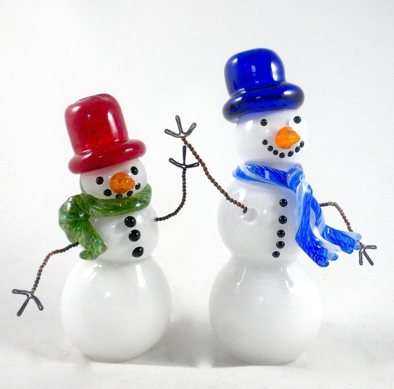 Glass Snowman- hand sculpted, whimsical, Frosty, snowy winter wonderland, lifelike, 1 of a kind, unique, sculpture, great holiday gift idea