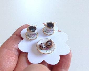 Miniature coffe scene, handmade, 1:12 scale