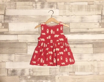 Baby Christmas Dress | Polar Bear Patterned Dress | Christmas Dress | Red Dress | Red Christmas Outfit | Xmas Dress | Xmas Outfit