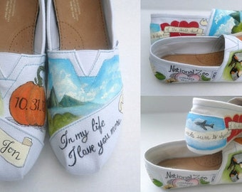 Bride's Love Story Wedding Shoes Bride Flats Unique Hand Painted TOMS Bridal Shower Gift Custom TOMS Painted Wedding TOMS Gift for the Bride