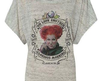 Winifred Sanderson Another Glorious morning halloween hocus pocus on shirt, tee, sweatshirt, pullover, tank, flowy racerback dolman