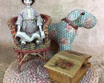 Miss Avery Barton, papier mache and cloth folk artist doll, artist doll, SOLD