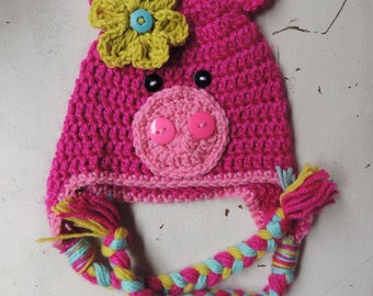 Crochet Pig Hat, Luv Beanies, Girl Pig hat, Animal Hats, Animal hats, Photo Prop, Hats for kids, Baby hats, Girl hats, pink hats, Pig beanie