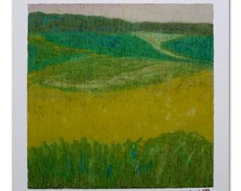 Dessin, Jaune, Vert, Pastel à l'huile, Papier, Paysage, Art Contemporain, Champs, Couleurs, Nature