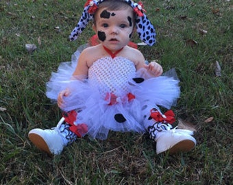 Complete Dalmatian Tutu Dress Headband/Ears, Tail & Leg warmers Costume,  infant, toddler