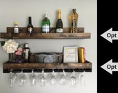 "36"" (LONG) Rustic Wood Wine Rack | Shelf & Hanging Stemware Glass Holder Organizer Bar Shelf Unique"
