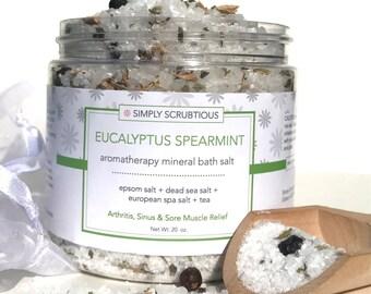MINT EUCALYPTUS Bath Salt-Eucalyptus Bath Salt-Detox Bath Salt-Aromatherapy Bath Soak- 16 oz.