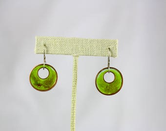 Circle Copper and Resin Earrings with Sterling Silver Ear Wire