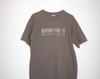 90's RODEO DRIVE beverly hills embroidered grungy brown / olive t-shirt size large