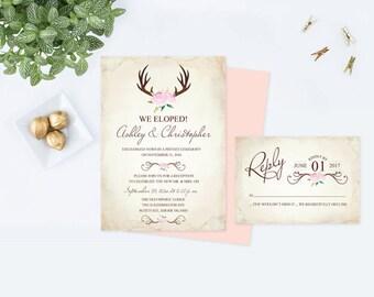Pink We Got Married Invitation, Deer Antlers Invite, Reception Eloped, DIY Wedding Invitation, Baby Shower Invite, DIY Pink Deer Invitation