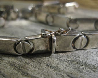 ca. 1950 mid century ITALIAN sterling designer link CHOKER necklace, industrial vibe. 17 inches.