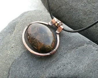 african opal boho necklace, rustic copper necklace, healing gemstone pendant, hammered copper jewelry, bohemian necklace, yoga pendant