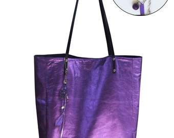 Metallic purple Leather Tote, large tote, leather zipper pocket & purse, Soft purple leather, lined leather tote, key clasp, charm option