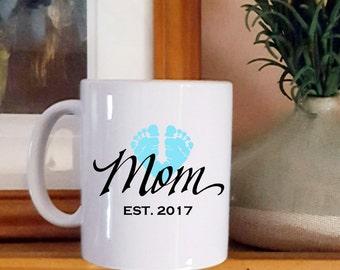 Mom Mug With Baby's Feet, Gift For New Mom Mug