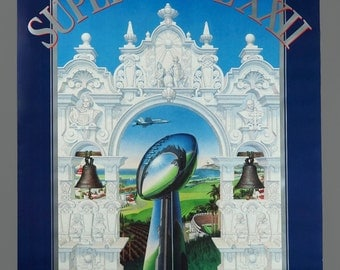 "1987 Super Bowl XXII Poster Denver vs Washington Vintage 24"" x 36"""