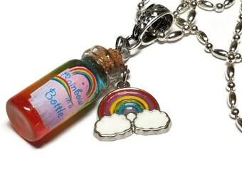 Rainbow in a Bottle Necklace, Bottled Rainbow, Over The Rainbow Necklace, Pastel Goth Rainbow Necklace