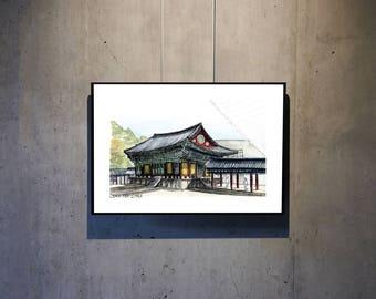 Gyeongju, South Korea, Bolguksa Temple, Urban Sketch, Architectural Watercolor,