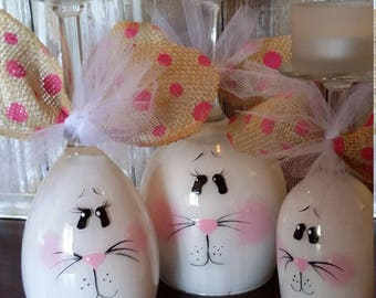 Bunny Candle Wine Centerpiece Set/painted/Gift/Summer/Fireplace/Spring