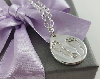 Handprint/Footprint necklace - baby and child's footprints or handprints on fine silver dewdrop pendant, Mother's day or birthday gift