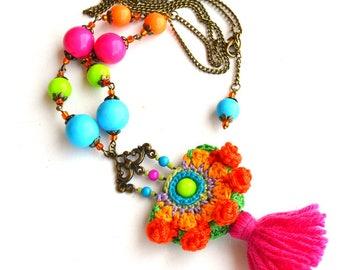 long boho necklace, tassel necklace, festival necklace, mexican necklace, bright neon necklace, funky necklace, large hippie necklace